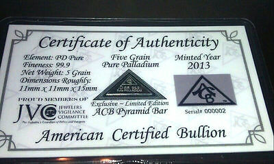 ACB Pyramid Palladium 5GRAIN BULLION MINTED BAR 999 Pure Certificate Authenticit