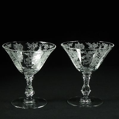 2 Low Sherbert Glasses Cambridge Rose Point Clear Etched  2 of 7