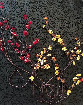 Illunination Artifical Flowers Lot Of 5 Red & Yellow Stems