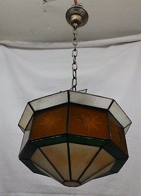 Vintage Green Amber Opalescent Stained Glass Ceiling Light North Star 4055-15