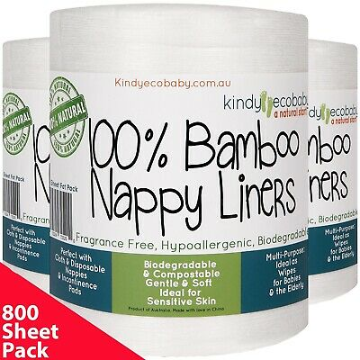 600 BAMBOO Flushable Nappy Liners/Inserts Cloth Biodegradable Organic ecosafe