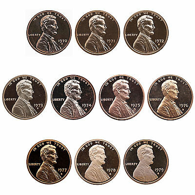 1970-1979 S Lincoln Memorial Cent Gem Proof Run 10 Coin Set US Mint Penny Lot