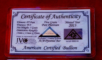 ACB Platinum PT BULLION 5Grain PYRAMID 9.99 WITH CERTIFICATE OF AUTHENTICITY~~~