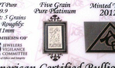 ACB Platinum PT BULLION 5Grain  9.99 WITH CERTIFICATE OF AUTHENTICITY~~~
