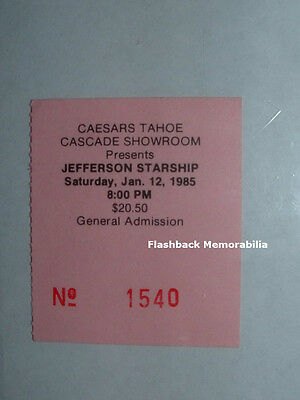 JEFFERSON STARSHIP 1985 Concert Ticket Stub CAESARS LAKE TAHOE Rare PAUL KANTNER