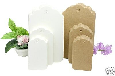 GIFT TAGS 3 SIZES Large Medium Small 3 Colours Brown White Ivory