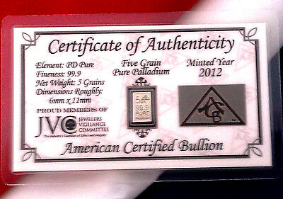 ACB Palladium 5GRAIN BULLION MINTED BAR 999 Pure Certificate Authenticity $