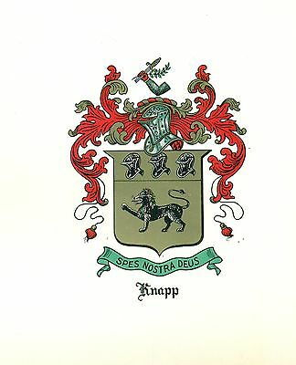 Great Coat of Arms Knapp Family Crest genealogy, would look great framed!