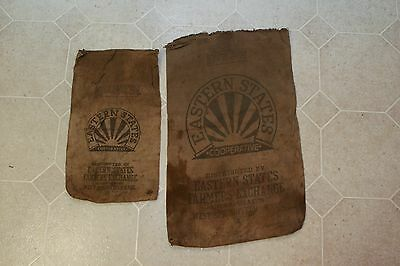 2 Turn of C Vintage Feed Seed Bags Eastern States Cooperative W Springfield Mass