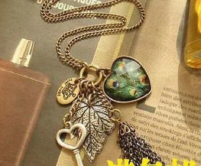 Elegant Multicolor Peacock Feather Pendant Sweater Chain Fashion Necklace