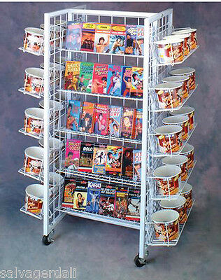 White 20 Shelf 480 DVD Grid Store Display Fixture Rolling Adj Wire Shelves  New