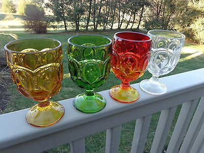 4-Vintage L E SMITH MOON & STAR CLEAR-AMBERINA-AMBER-GREEN GLASS GOBLET S