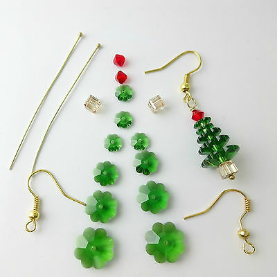 Swarovski Crystal Christmas Tree Earrings Kit with Instructions