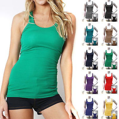 COTTON RIBBED RACERBACK TANK TOP Womens Fitness Sport Yoga Stretch Long Zenana