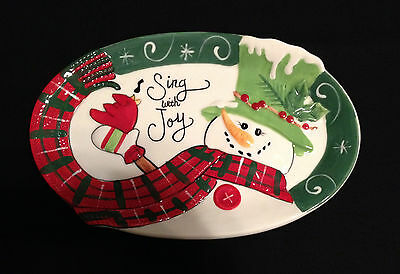 Fitz and Floyd Holly Hat Snowman Sentiment Tray Christmas Holiday Serving Dish