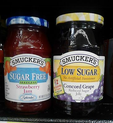 Smucker's~ Sugar Free & Low Sugar Jam, Jelly & Preserve Assort Varieties!
