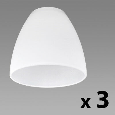 Set of 3 White Glass Replacement Ceiling / Wall Light Shade Lamp Shades Lights