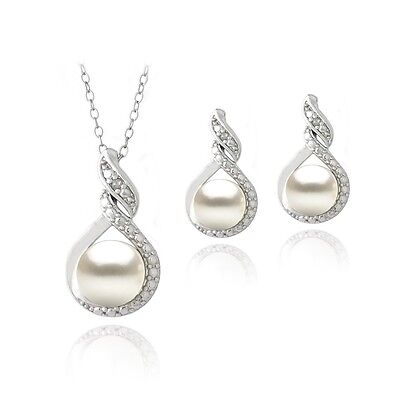 Sterling Silver Freshwater Pearl & Diamond Pearl Necklace Earrings Set