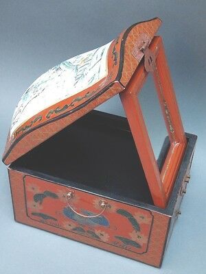Chinese Cinnabar Lacquered Vanity Jewelry Box Mirror Porcelain Lid Drawers