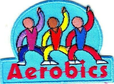 """AEROBICS""- Iron On Embroidered Applique Patch -Sports, Words, Running, Exercise"