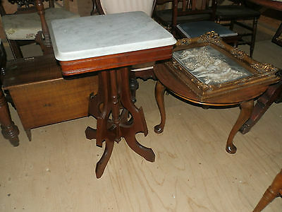 Wonderful Antique Victorian Marble Top Lamp Table/plant Stand W/nice Base