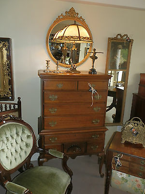 Gorgeous Antique Solid Blonde Mahogany 9 Drawer Chest Dresser