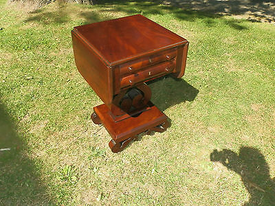 Exceptional Antique Empire Drop Leaf Work Table W/writing Surface And Inkwells