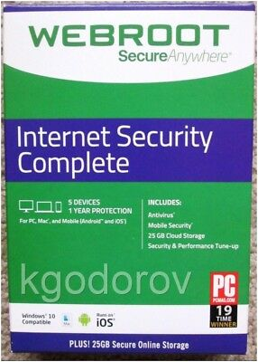 Webroot SecureAnywhere Internet Security Complete 2017 (5 Devices) Brand New