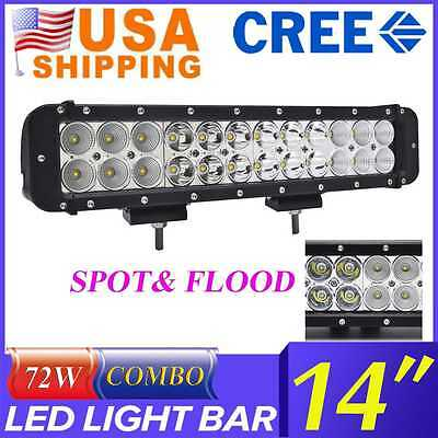 14inch 72W Cree Led Light Bar Flood Spot Combo Offroad Truck Lamp Driving 4WD