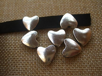 10pcs Antique Silver Heart Shaped Slider Spacer Charms For 10*2mm Flat leather