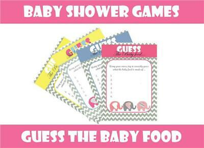 BABY SHOWER Games Guess the Baby Food Boy Blue Girl Pink Neutral Yellow Keepsake