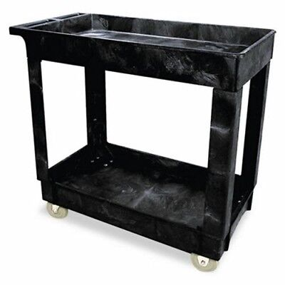 Rubbermaid 9T6600 Service/Utility Cart with 2 Shelves, Black (RCP9T6600BLA)