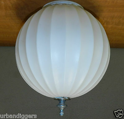 "9482/ Vintage Atomic Ceiling Fluted LIGHT FIXTURE SHADE /  GLOBE  7"" diameter"