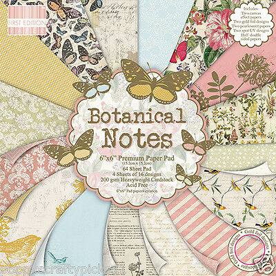 64 SHEET FULL PACK FIRST EDITION BOTANICAL NOTES 6 x 6  CARD MAKING CRAFT PAPER