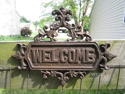 Metal Rustic Cast Iron Hanging Welcome Sign Victorian Design Garden Wall Plaque