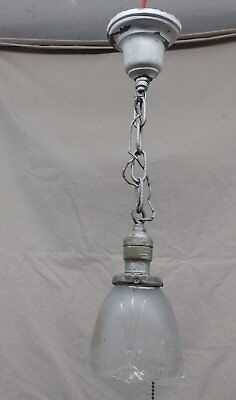 Antique Brass Hanging Pendant Ceiling Light Fixture Old Glass Shade VTG 4074-15
