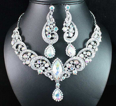 WAVE AB WHITE AUSTRIAN RHINESTONE CRYSTAL STATEMENT NECKLACE EARRINGS SET N1716