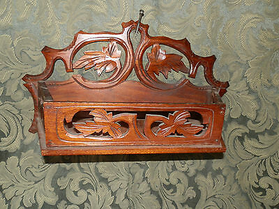 Rare Hand Carved Victorian Wall Mount Letter Holder