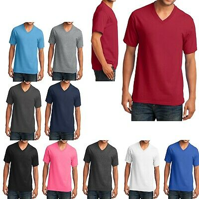 MEN'S V NECK, COTTON & 50/50 COTTON/POLY T-SHIRTs, MID-WEIGHT SHORT SLEEVE S-4XL