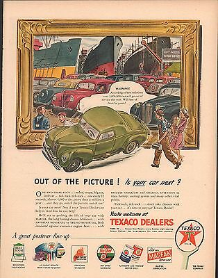 1945 TEXACO DEALERS TEXAS COMPANY WWII POST WAR Big Full Size Vintage Ad 10x14