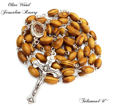 Olive Wood ROSARY PRAYER NECKLACE With Cross Crucifix & Jerusalem Soil AUTHENTIC