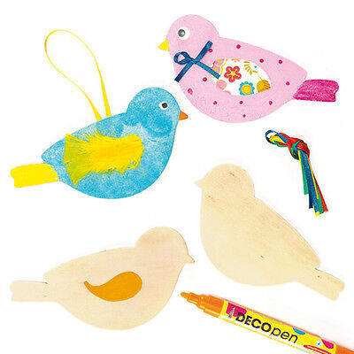 Wooden Bird Shapes for Children to Paint Decorate and Hang (Pack of 8)