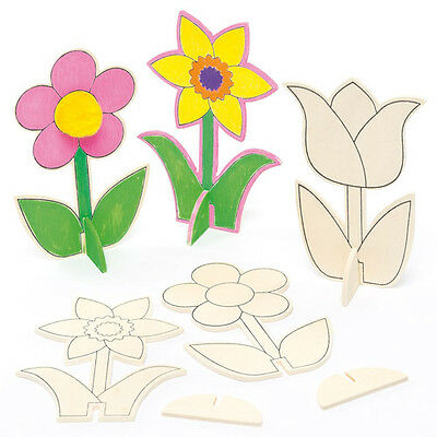 Mini Wooden Flowers for Children to Decorate for Mothers Day (Pack of 6)