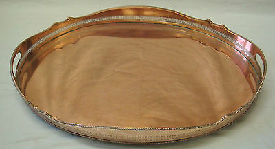 A LOVELY LARGE OLD SOLID COPPER OVAL SHAPED GALLERIED TRAY