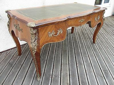 Superb king wood and walnut Louis XVI style bureau plat desk writing table 430