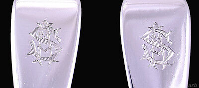 """Excellent Pair of Antique """"S"""" Engraved Sterling Silver English Serving Spoons"""