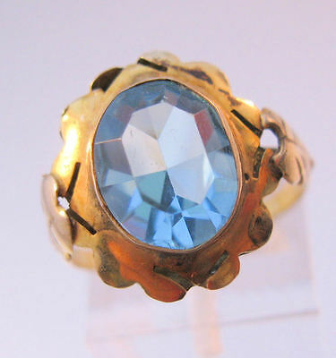 Vintage 10K Yellow Gold Blue Stone Ring Size 7