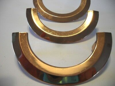 3 VINTAGE Copper Half Circle Horse Shoe Shaped Drawer or Cabinet Door Pulls
