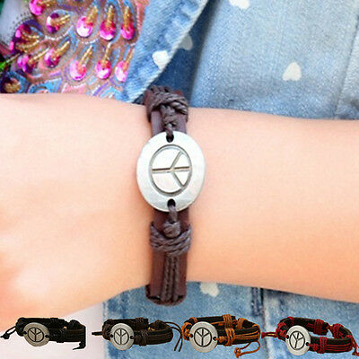 Hot Fashion Retro Personality Peace Sign Alloy PU Leather Bracelet Gift New