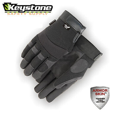Majestic Glove Mechanics Style Armorskin Synthetic Leather Glove 2137BK  Large
